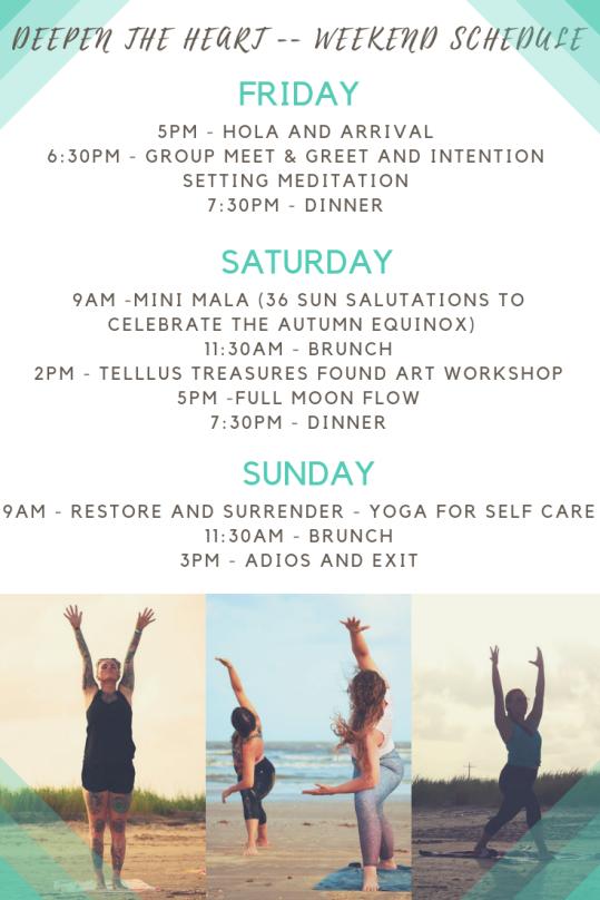 Deepen the heart weekend schedule - revised